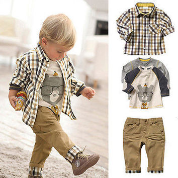 3PCS Baby Kids Boys Clothes Spring Summer Plaid Casual Cartoon Tops Tee Checked Shirt T-Shirts+Pants Clothes Outfits Sets