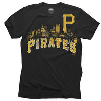 Majestic Threads Pittsburgh Pirates Soft Hand Skyline T-Shirt - Black
