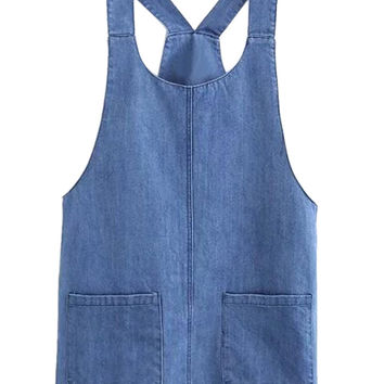 Blue College Stytle Overall Denim Dress