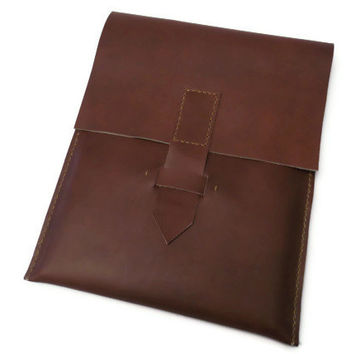 Leather iPad Sleeve- iPad Case- iPad Cover-iPad2- iPad3-iPad4- Brown Genuine Leather Sleeve Case Hand Stitched