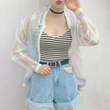 Summer women Ulzzang Harajuku psychedelic laser seven color bat loose vadim Splice rainbow Bomber jacket sun protection clothing