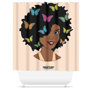 Chocolate Butterfly Diva (Peach) Shower Curtain
