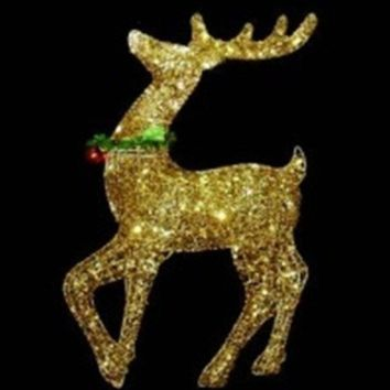 "34"" Pre-lit Gold Glittered Prancing Reindeer Christmas Yard Art Decoration"