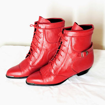 Durango roper boots / size 8 / red leather ankle boots / western cowgirl booties / lace up ankle boots