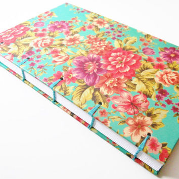 Personal Diary | Floral Journal | Handmade Gift for Writer | Writing Journal | Blank Book | Travel Journal | Unlined | Coptic Stitch