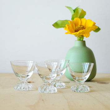 Mid Century Modern Cordial Glass Set Vintage Bar Ware Pedestal Glass
