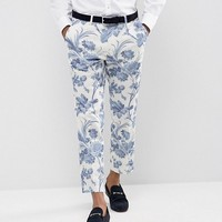 ASOS Wedding Skinny Suit Pants In Blue and White Cotton Floral Print at asos.com