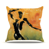 "Josh Serafin ""Hangin' 5"" Orange Yellow Outdoor Throw Pillow"