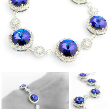 Purple Wedding Bracelet Heliotrope Swarovski Silver and Cubic Zirconia Jewelry with Rivoli for Brides Bridesmaid Prom Violet Teal Jewellery