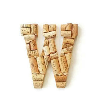 Wine cork letter W | Monogram letters | Wine cork crafts | decorative letters | wine cork letters