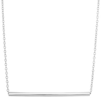 Sterling Silver Sideways Cylinder Bar Pendant Fashion Necklace - 18 Inch