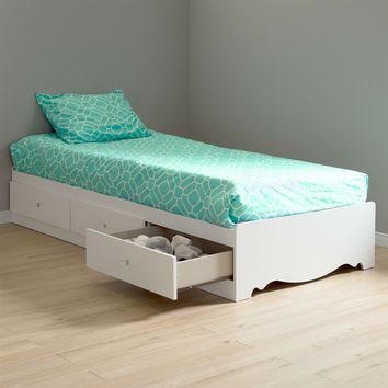 Twin Size White Wood Platform Bed Daybed With Storage Drawers 2