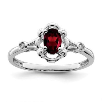 Sterling Silver Oval Garnet And Diamond Ring