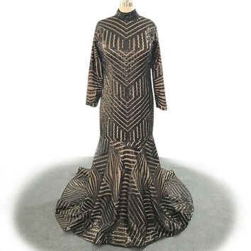 Mermaid Evening Dresses Black Sequined Long Sleeve Dress Glitter Bling Bling Muslim Party Gown