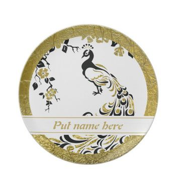 Black, faux gold foil peacock and cherry blossoms dinner plate from Zazzle.com