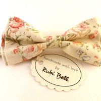 Bow Tie - floral bow tie - wedding bow tie - pale yellow bow tie with pink flower pattern - man bow tie - men bow tie - gifts for him
