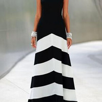 Black and White Sleeveless Striped Ankle Length Dress