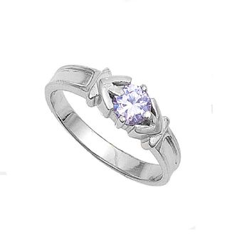 Sterling Silver Trident Design Round CZ Light Amethyst 5MM CZ Petite Rings