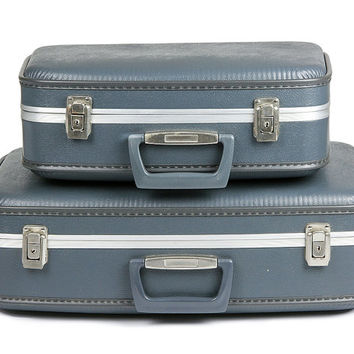 Vintage Blue Hard Plastic Suitcase Set of Two / Suit Case - 1960s Mad Men Chic / Luggage for Home Decor or Storage
