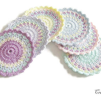 Crochet colorful coasters, Handmade coasters, Set of 6 coasters, Pastel coasters, Small doilies, Sottobicchieri colorati (Cod. 24)