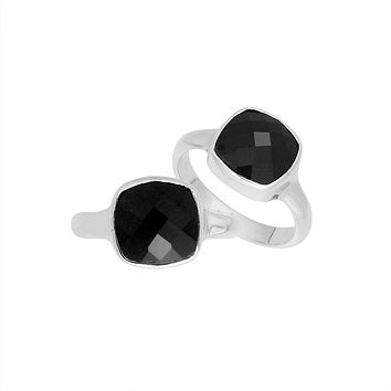 AR-6157-OX-6'' Sterling Silver Cushion Shape Ring With Black Onyx
