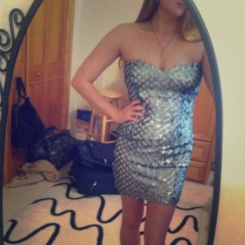 Teal Sequin Strapless Bodycon