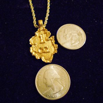 bling 14kt yellow gold plated one oz good luck lucky nugget sign symbol casino gambling pendant charm 24 inch rope chain hip hop trendy fashion necklace jewelry