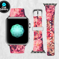 Pink Roses Flowers Daisies Geranium Tumblr Inspired New Apple Watch Band Leather Strap iWatch for 42mm and 38mm Size Metal Clasp Watch Print