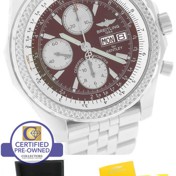 2014 Breitling Bentley GT Chronograph Bordeaux Burgundy Stainless A13362 Watch