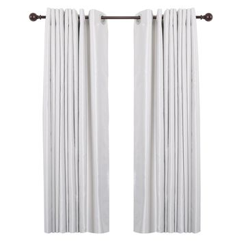 """Curtain Rod with Round Finials, Adjustable Length 28-48"""", Bronze"""