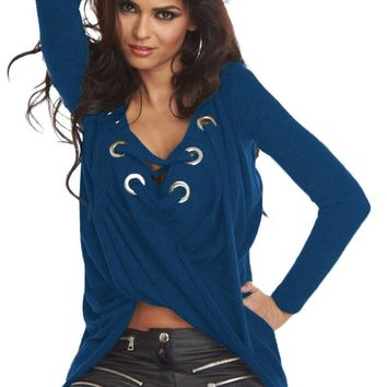 Chicloth Royal Blue Lace Up Long Sleeve Ruched Pullover Shirt
