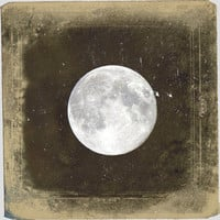"Vintage Full Moon Photo ""Blue Moon"" Ethereal Night Sky Stars Photograph Print - Fine Art Gothic Antique Victorian Photo"