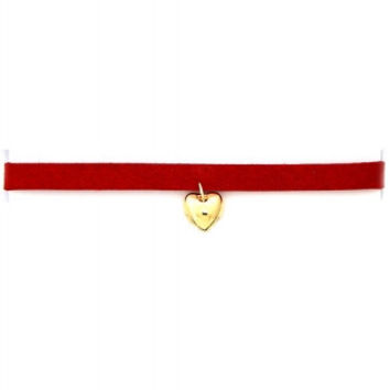 Red Suede Heart Choker Necklace