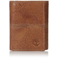 Timberland Cognac Leather Argento Quadstitch Trifold Wallet