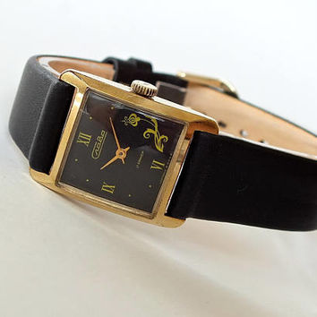 Black face womens watch Slava Glory. Art deco womens watch. Small mechanical watch. Vintage gold plated watch for women. Gift for her.