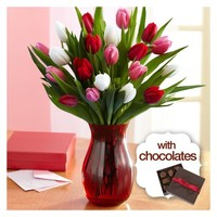 20 Sweetheart Tulips with Elegant Ruby Vase & Chocolates