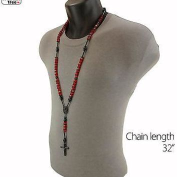 Jewelry Kay style Men's Hip Hop 8mm RED Bead Black Rosary Pray Hand & Jesus Cross Necklace BKRD