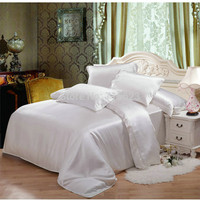 022808 4 pcs mulberry Silk Bedding Set 12 color silk satin flat sheet and pillowcases ,duvet cover