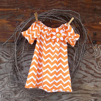 Baby Chevron  Dress, Peasant Dress, Orange and white, Flower, Fall Thanksgiving, 12, 18 and  24 months and 2 T  size