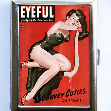 Pin up pinup Sultry Cigarette Case Wallet Business Card Holder retro rockabilly