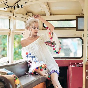 Simplee Off shoulder embroidery summer beach dress