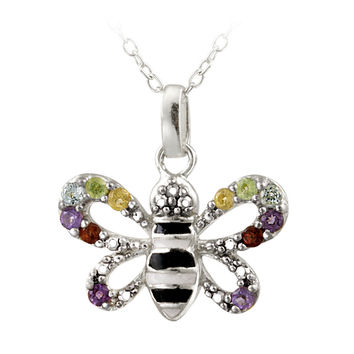 Sterling Silver Multi Gemstone & Diamond Accent Enamel Bumble Bee Necklace