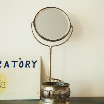 Antique Lightweight Shaving Mirror on Stand With Brush