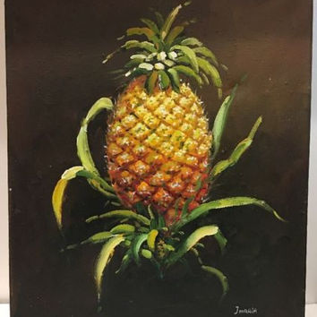 "Canvas Oil Painting Still Life Fruit Pineapple Signed By J. Maria 24""L X 20""W"