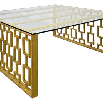 "Prism 36"" Square Coffee Table, Gold, Cocktail Table"