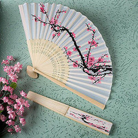 1x Chinese Folding Hand Fan Japanese Cherry Blossom Design Silk Costume