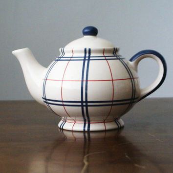 Retro Vintage Scandinavian Nordic Style Tartan Pattern Tea Pot Teapot Kettle Cup Chequered Checkered Pattern Navy Blue Red Enamel Clay NEW