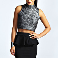 Lucy Black Peplum Mini Skirt