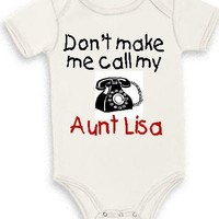 Personalize Aunt infant baby one piece creeper bodysuit snapsuit | Teesbytini - Clothing on ArtFire