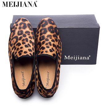 New Handmade Leopard Men Red Bottom Gentleman Luxury Fashion Stress Shoes  Party sequin shoes Men Casual Shoes